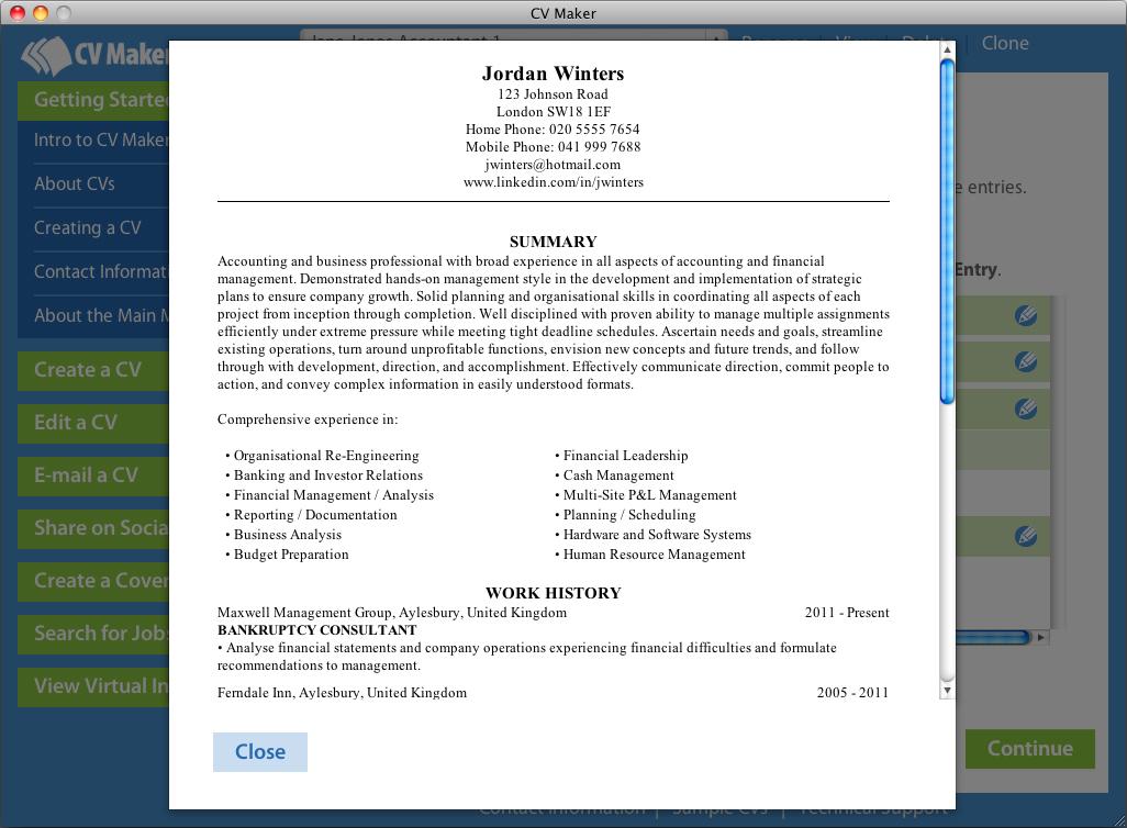 Career tools resume sample